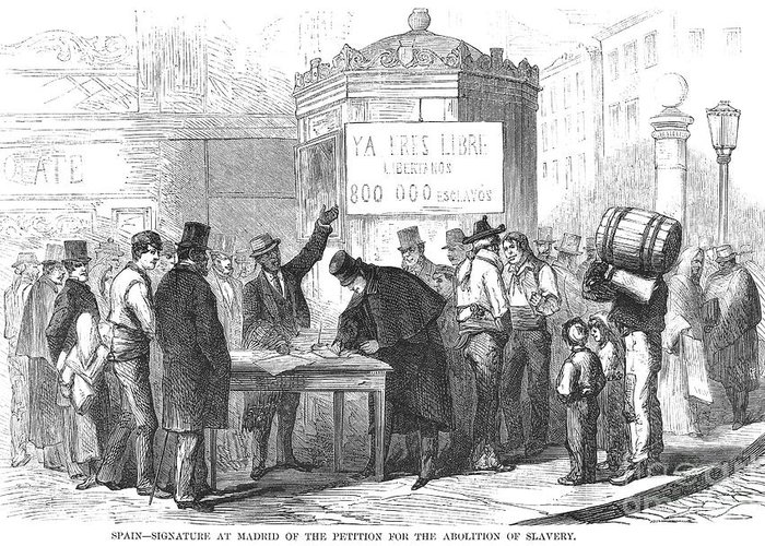 1869 Greeting Card featuring the photograph Spain: Abolitionists, 1869 by Granger