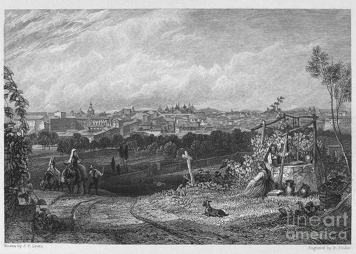 1833 Greeting Card featuring the photograph Spain: Madrid, 1833 by Granger