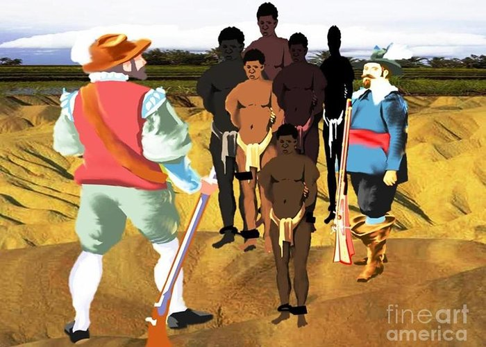 Black History Greeting Card featuring the digital art Spaniards Capturing Slaves by Belinda Threeths
