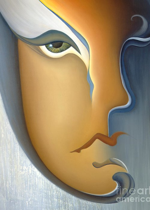 Sensual Greeting Card featuring the painting Speak No Evil by Joanna Pregon
