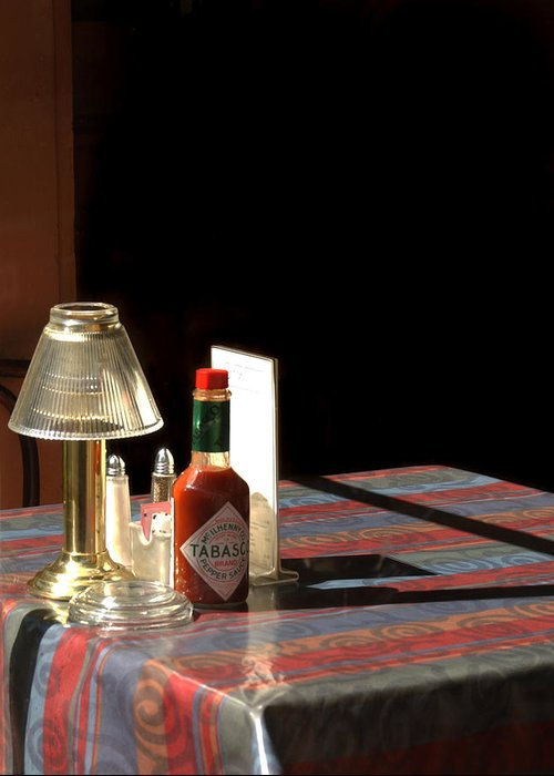 Tabasco Sauce Greeting Card featuring the photograph Spice Of Life by Greg and Chrystal Mimbs