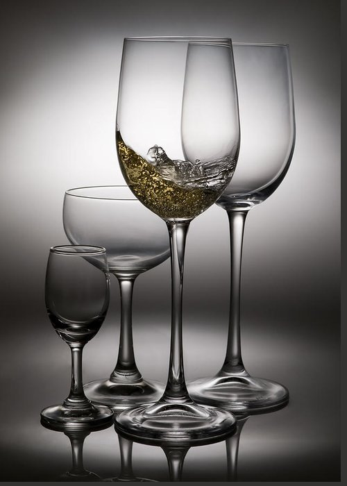 Abstract Greeting Card featuring the photograph Splashing Wine In Wine Glasses by Setsiri Silapasuwanchai