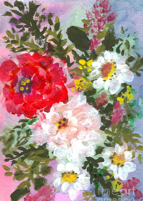 Splashy Greeting Card featuring the painting Splashy Flowers by Debbie Wassmann