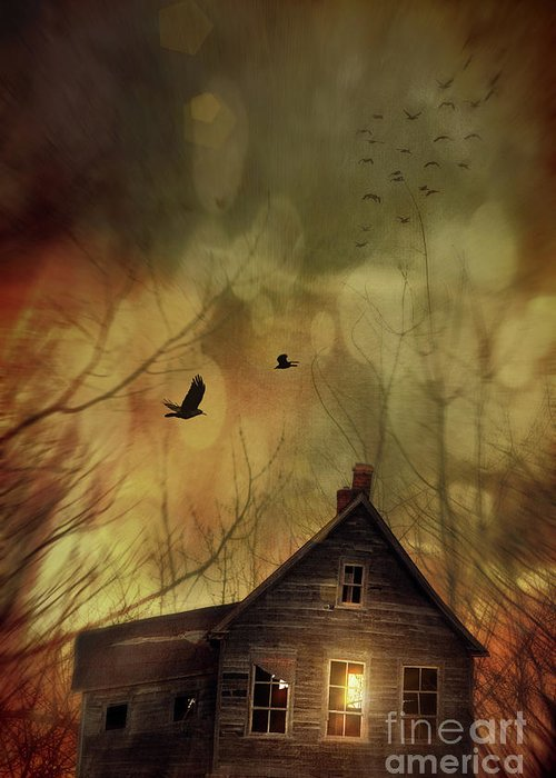 Abandoned Greeting Card featuring the photograph Spooky House At Sunset by Sandra Cunningham