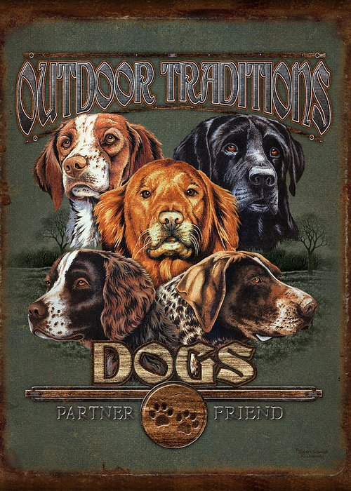 Robert Schmidt Greeting Card featuring the painting Sporting Dog Traditions by JQ Licensing