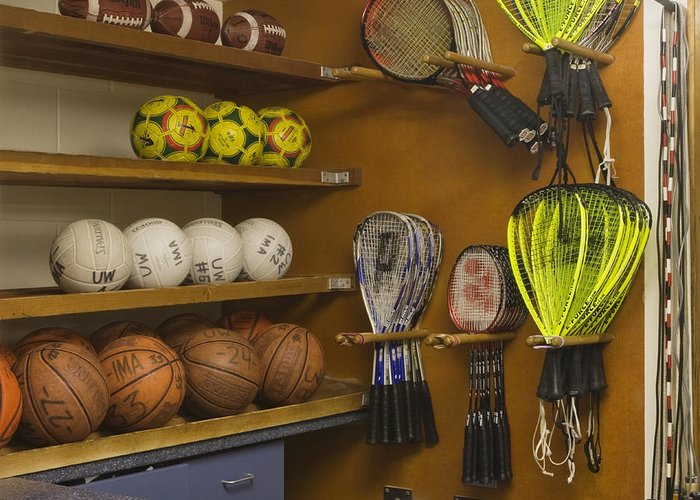 Balls Greeting Card featuring the photograph Sports Equipment Display by Andersen Ross