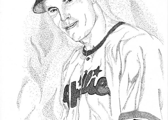 This Image Of Richie Asburn Of The Philadelphia Phillies Took Over 7 Hours To Complete And Has Over 70 Greeting Card featuring the drawing Sports Portrait by Marty Rice