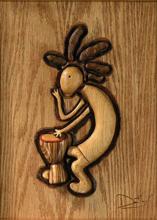 Kokopelli Greeting Card featuring the relief Spring Jam B by David Taylor