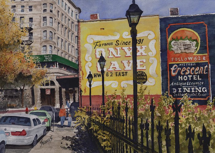 Spring Street Greeting Card featuring the painting Spring Street At Basin Park by Sam Sidders