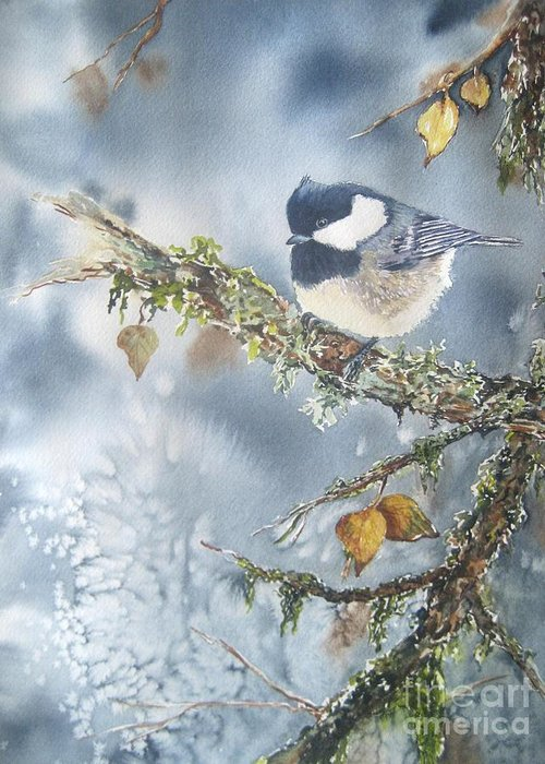 Bird Art Greeting Card featuring the painting Spring Thaw by Patricia Pushaw