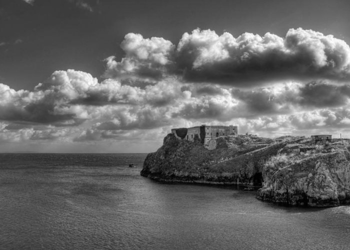 St Catherines Rock Tenby Greeting Card featuring the photograph St Catherines Rock Tenby by Steve Purnell