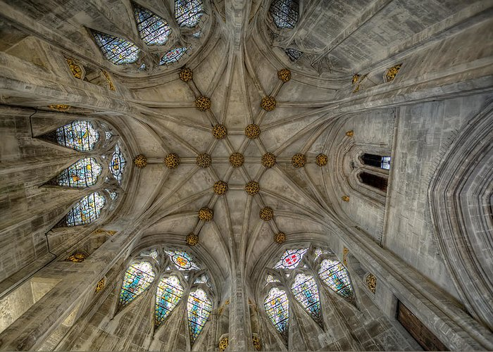 Architecture Greeting Card featuring the photograph St Mary's Ceiling by Adrian Evans