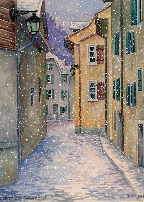 Switzerland Greeting Card featuring the painting St Ursanne In Snow by Scott Nelson