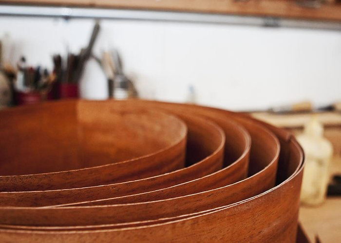 Apartment Greeting Card featuring the photograph Stack Of Wooden Bowls by Jetta Productions, Inc