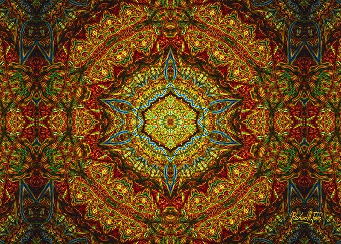 Mandala Byzantine-style Multi-colored-tan-brown Base Greeting Card featuring the mixed media Stained Glass Gas Ring Mandala by Richard H Jones