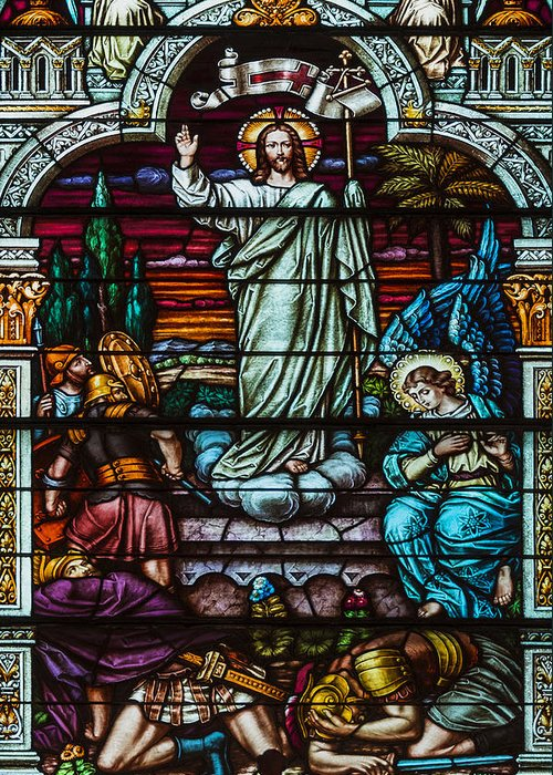 Stained Glass Jesus Greeting Card featuring the photograph Stained Glass Jesus by Anthony Citro