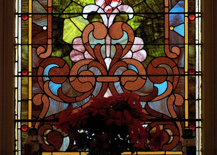 Glass Art Greeting Card featuring the photograph Stained Glass Lc 17 by Thomas Woolworth