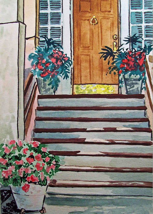 Stairs Greeting Card featuring the painting Stairs Sketchbook Project Down My Street by Irina Sztukowski