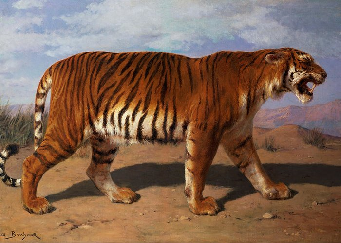 Stalking Greeting Card featuring the painting Stalking Tiger by Rosa Bonheur