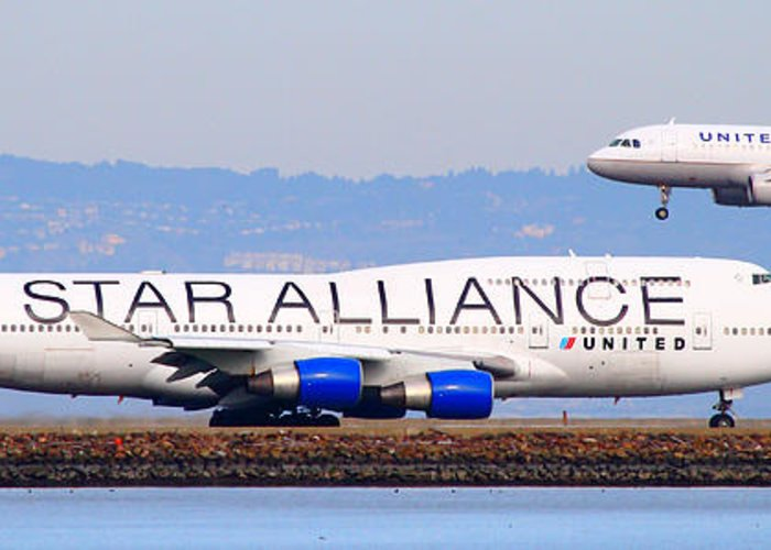 Pano Greeting Card featuring the photograph Star Alliance Airlines And United Airlines Jet Airplanes At San Francisco Airport Sfo . Long Cut by Wingsdomain Art and Photography