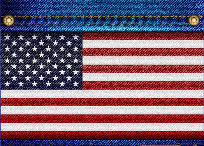 Background Greeting Card featuring the photograph Stars And Stripes Denim by Jane Rix