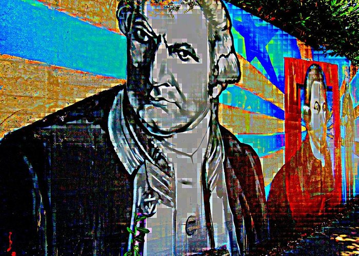 Pixel Greeting Card featuring the digital art Statesmen by Randall Weidner