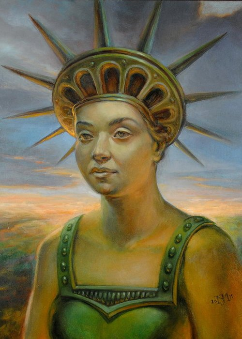 Statue Of Liberty Greeting Card featuring the painting Statue Of Liberty Still Alive by Jiri Mesicki