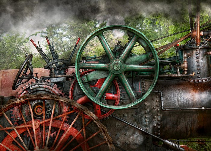 Steampunk Greeting Card featuring the photograph Steampunk - Machine - Transportation Of The Future by Mike Savad