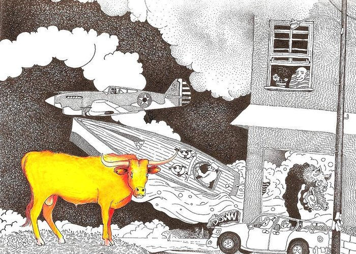 Landscape Greeting Card featuring the drawing Steering by Rob M Harper