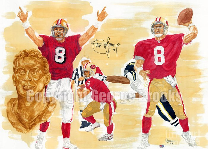 Steve Young Greeting Card featuring the painting Steve Young - Hall Of Fame by George Brooks