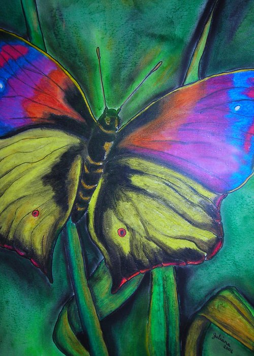 Still Life Greeting Card featuring the drawing Still Butterfly by Juliana Dube