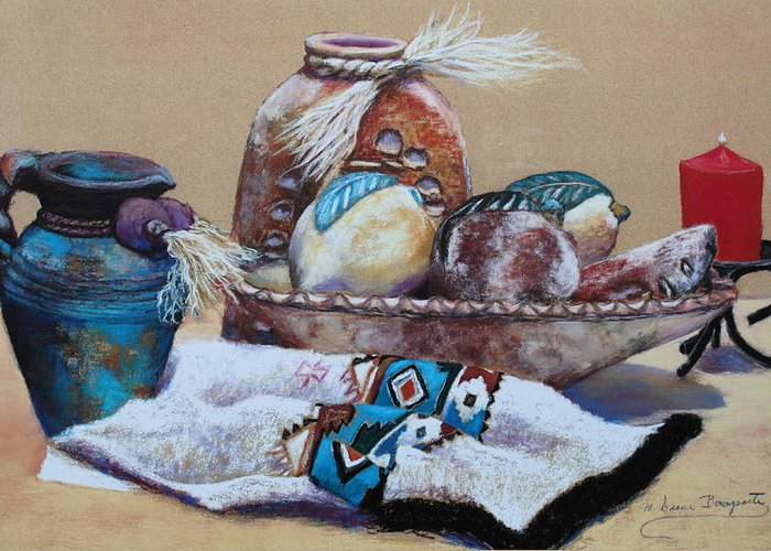 Pottery Greeting Card featuring the painting Still Life by M Diane Bonaparte