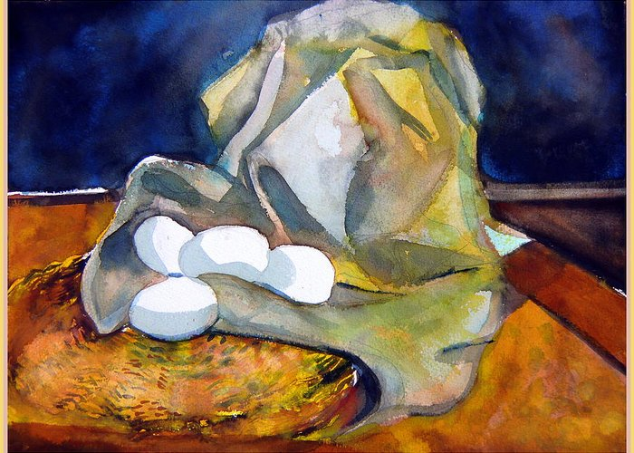 Eggs Greeting Card featuring the painting Still Life With Eggs by Mindy Newman