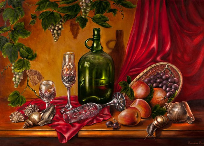 Food Greeting Card featuring the painting Still Life With Snails by Roxana Paul