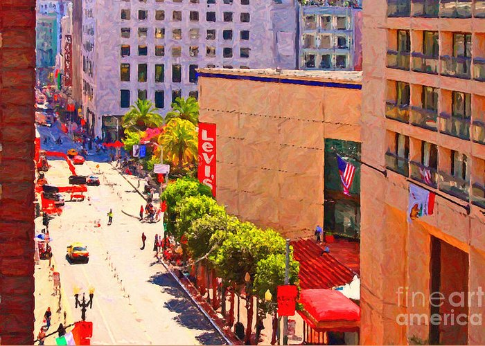 San Francisco Greeting Card featuring the photograph Stockton Street San Francisco Towards Union Square by Wingsdomain Art and Photography