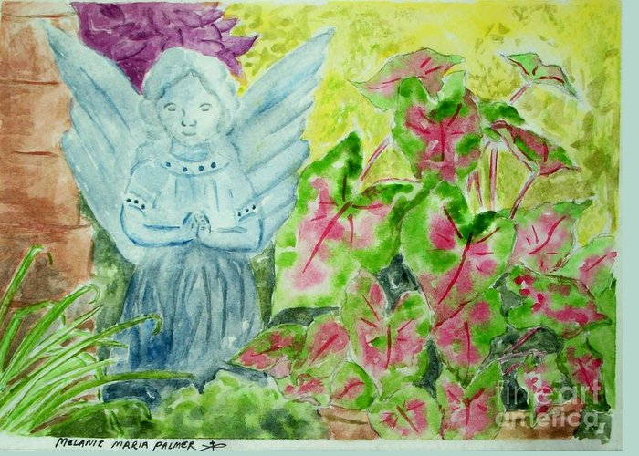 Angel Greeting Card featuring the painting Stone Angel And Caladiums by Melanie Palmer