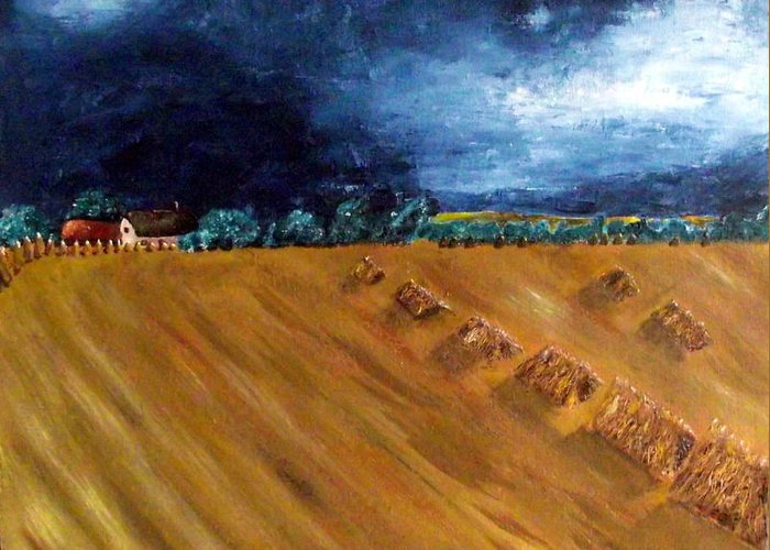 Stooks Greeting Card featuring the painting Stooks At Winkleigh by Sandy Wager