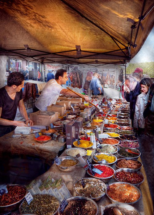 Tea Greeting Card featuring the photograph Storefront - The Open Air Tea And Spice Market by Mike Savad