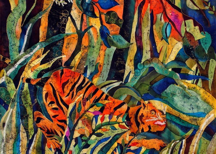 Silk Greeting Card featuring the tapestry - textile Storm Tribute To Henri Rousseau by Sandra Kern