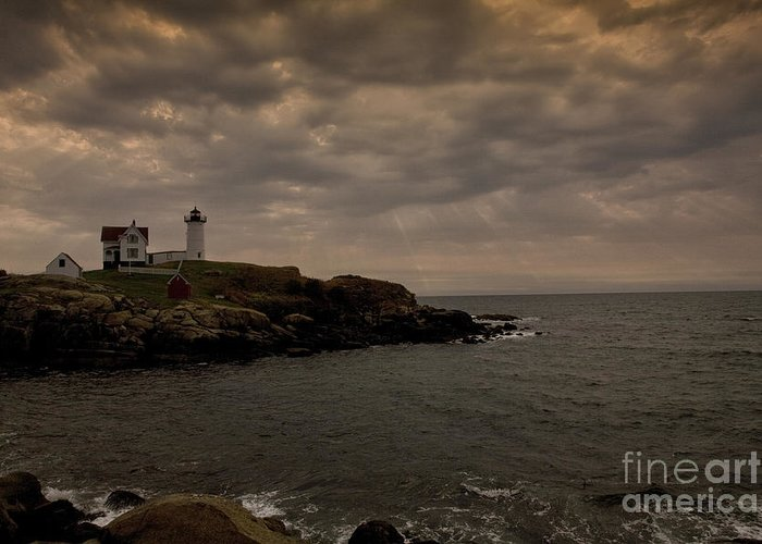 Cape Neddick Greeting Card featuring the photograph Stormy Nubble by Timothy Johnson