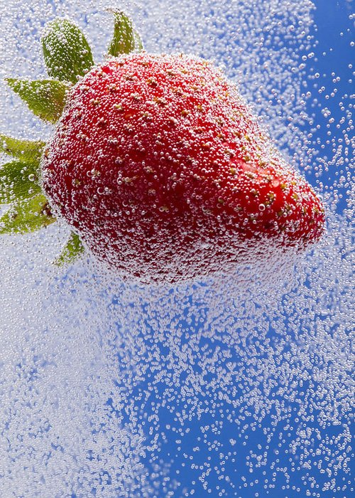 Red Greeting Card featuring the photograph Strawberry Soda Dunk 2 by John Brueske