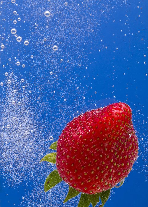 Red Greeting Card featuring the photograph Strawberry Soda Dunk 4 by John Brueske