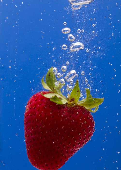 Red Greeting Card featuring the photograph Strawberry Soda Dunk 5 by John Brueske