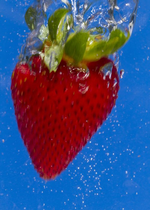 Red Greeting Card featuring the photograph Strawberry Soda Dunk 7 by John Brueske