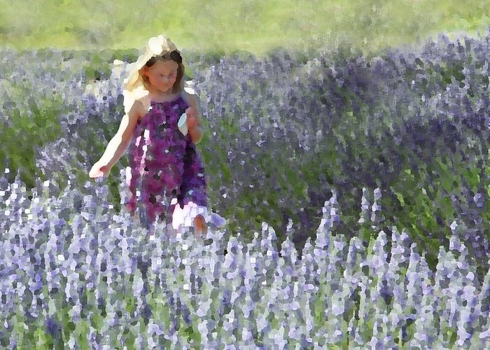 Lavender Greeting Card featuring the photograph Stroll Through The Lavender by Brooke Ryan