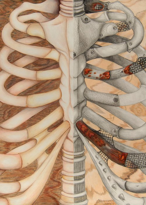 Bone Metal Steel Steal Rib Cage Skeleton Anatomy Bolts Nuts Structure Build Half Wood Mahogany Plywood Building Build Collar Ribs Rib Greeting Card featuring the drawing Structure by Kayleigh Dickson