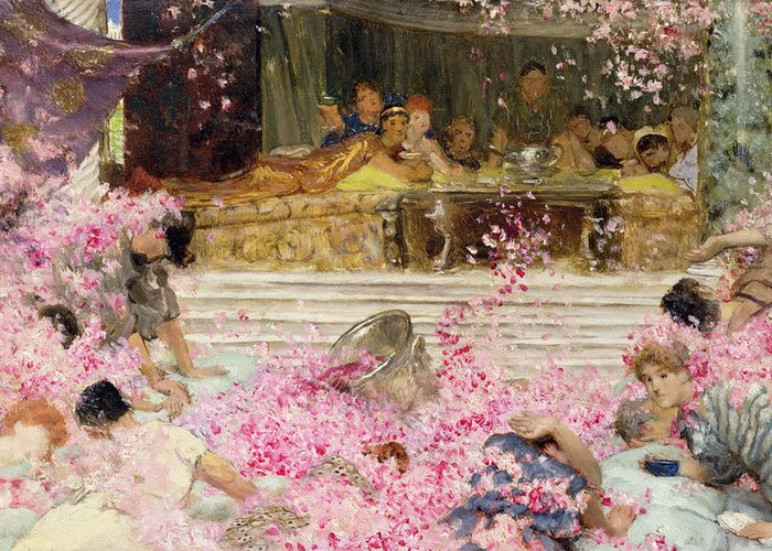 Study Greeting Card featuring the painting Study For The Roses Of Heliogabulus by Sir Lawrence Alma-Tadema