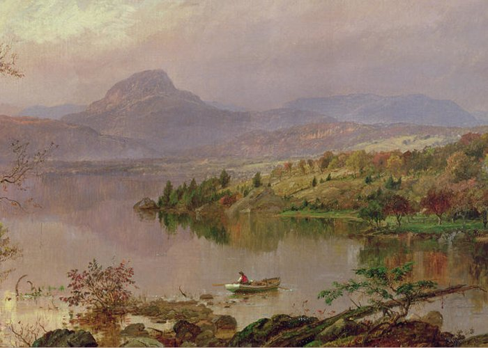 American Landscape; Boat; Mountain; Franklin County; West-central Maine; Spring; Rugged; Solitary; Hudson River School;sugarloaf From Wickham Lake Greeting Card featuring the painting Sugarloaf From Wickham Lake by Jasper Francis Cropsey