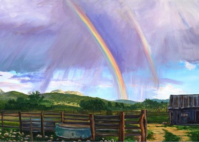 Clouds Greeting Card featuring the painting Summer Rain At The Ranch by Rita Lackey