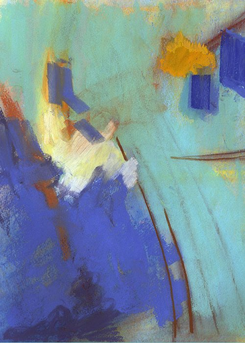 Blue Greeting Card featuring the painting Summit by Ethel Vrana